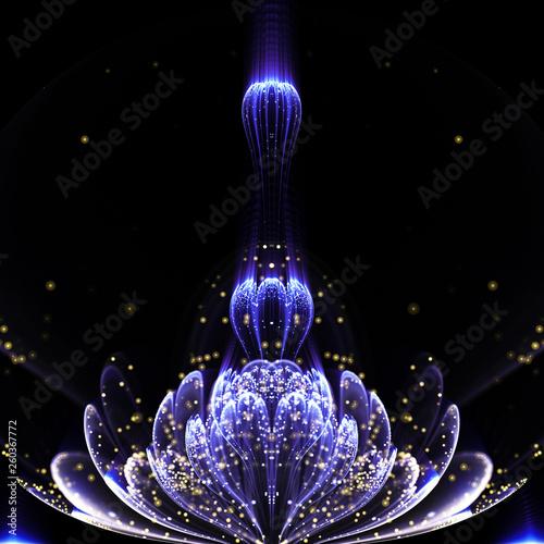 Stampa su Tela  Dark blue fractal flower with pollen, digital artwork for creative graphic desig