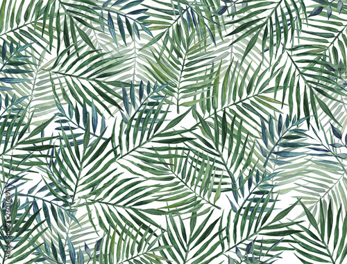 Recess Fitting Tropical Leaves Watercolor background with palm leaves.