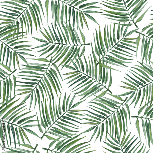 Wall Murals Tropical Leaves Seamless pattern with palm leaves. Watercolor illustration.