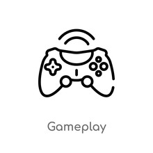 Outline Gameplay Vector Icon. ...
