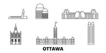 Canada, Ottawa Flat Travel Skyline Set. Canada, Ottawa Black City Vector Panorama, Illustration, Travel Sights, Landmarks, Streets.