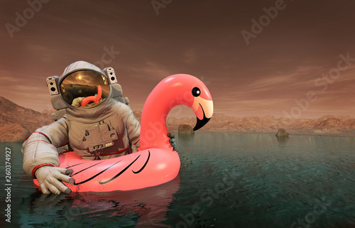 Stampa su Tela Astronaut with Pink Float Looking for Water on Mars - 3D illustration