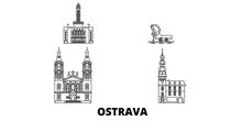 Czech Republic, Ostrava Flat Travel Skyline Set. Czech Republic, Ostrava Black City Vector Panorama, Illustration, Travel Sights, Landmarks, Streets.