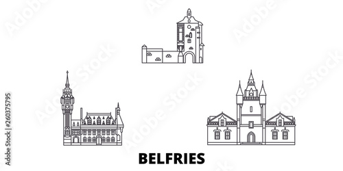 France, Belfries flat travel skyline set Fototapeta