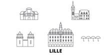 France, Lille Flat Travel Skyline Set. France, Lille Black City Vector Panorama, Illustration, Travel Sights, Landmarks, Streets.