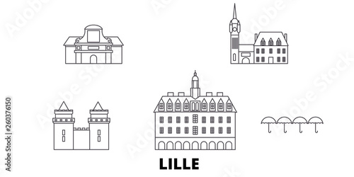 Carta da parati France, Lille flat travel skyline set