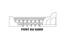 France, Pont Du Gard  Flat Travel Skyline Set. France, Pont Du Gard  Black City Vector Panorama, Illustration, Travel Sights, Landmarks, Streets.