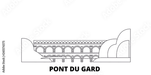 Fotografie, Obraz France, Pont Du Gard  flat travel skyline set