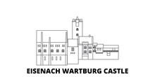 Germany, Eisenach  Wartburg Castle Flat Travel Skyline Set. Germany, Eisenach  Wartburg Castle Black City Vector Panorama, Illustration, Travel Sights, Landmarks, Streets.