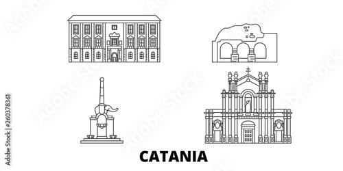 Carta da parati Italy, Catania flat travel skyline set