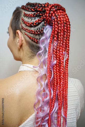 thin African braids woven with crochet, skeleton weaving
