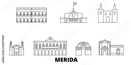 Fototapeta Mexico, Merida flat travel skyline set
