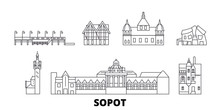 Poland, Sopot Flat Travel Skyline Set. Poland, Sopot Black City Vector Panorama, Illustration, Travel Sights, Landmarks, Streets.