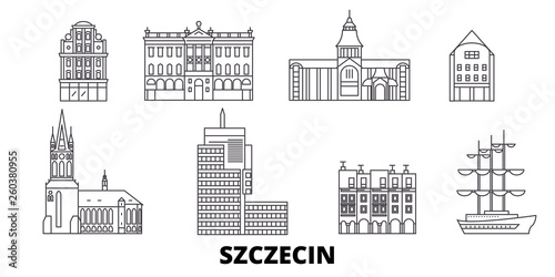 Poland, Szczecin flat travel skyline set. Poland, Szczecin black city vector panorama, illustration, travel sights, landmarks, streets.