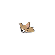 Cute Chihuahua Puppy Sleeping Icon, Vector Illustration