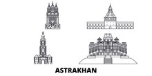 Russia, Astrakhan Flat Travel Skyline Set. Russia, Astrakhan Black City Vector Panorama, Illustration, Travel Sights, Landmarks, Streets.