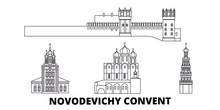 Russia, Moscow, Novodevichy Convent Flat Travel Skyline Set. Russia, Moscow, Novodevichy Convent Black City Vector Panorama, Illustration, Travel Sights, Landmarks, Streets.