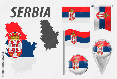 SERBIA  Collection of symbols in colors national flag on