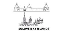 Russia, Solovetsky Islands Flat Travel Skyline Set. Russia, Solovetsky Islands Black City Vector Panorama, Illustration, Travel Sights, Landmarks, Streets.