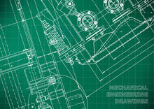 Blueprint. Vector Engineering Drawings. Mechanical Instrument Making. Technical Abstract Light Green Background. Grid. Technical Illustration, Cover, Banner