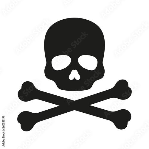 Photo  Skull with crossbones icon. Vector