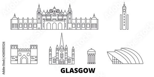 Scotland, Glasgow City flat travel skyline set. Scotland, Glasgow City black city vector panorama, illustration, travel sights, landmarks, streets.