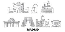 Spain, Madrid Flat Travel Skyline Set. Spain, Madrid Black City Vector Panorama, Illustration, Travel Sights, Landmarks, Streets.