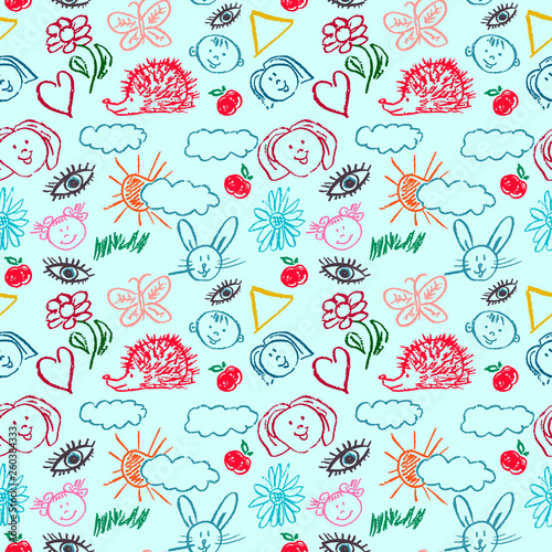 Cute stylish seamless pattern  Draw pictures, doodle