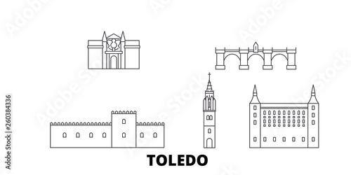 Spain, Toledo flat travel skyline set. Spain, Toledo black city vector panorama, illustration, travel sights, landmarks, streets.