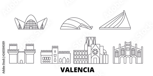 Spain, Valencia flat travel skyline set. Spain, Valencia black city vector panorama, illustration, travel sights, landmarks, streets.