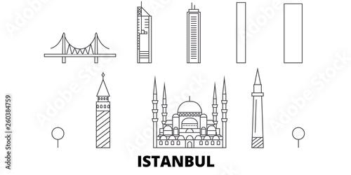 Fotografia, Obraz Turkey, Istanbul flat travel skyline set