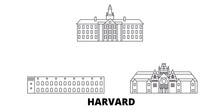 United States, Harvard Flat Travel Skyline Set. United States, Harvard Black City Vector Panorama, Illustration, Travel Sights, Landmarks, Streets.