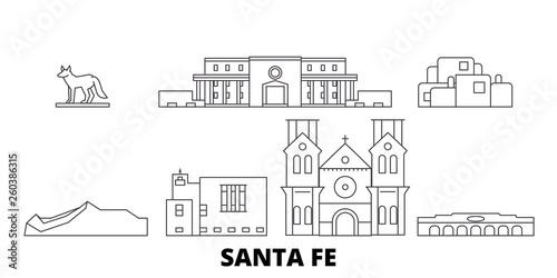 Naklejka premium Stany Zjednoczone, zestaw panoramę płaskich podróży Santa Fe. Stany Zjednoczone, czarna panorama wektorowa miasta Santa Fe, ilustracja, zabytki turystyczne, zabytki, ulice.