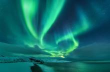 Aurora Borealis Over Ocean. No...