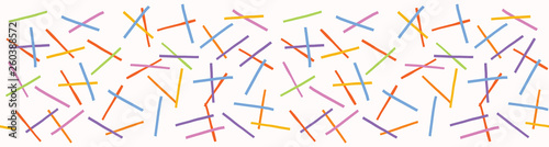 Hand painted textured pick up sticks confetti. Seamless tossed geometric shapes border pattern. Rainbow vector illustration. Bright ribbon edge trim. Colorful kid home decor washi tape band.