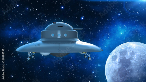 Retro UFO Spaceship, flying saucer in deep space, vintage spacecraft flying in t Canvas Print