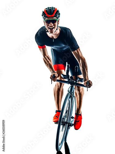 triathlete triathlon Cyclist cycling  in studio silhouette shadow  isolated  on Fototapeta