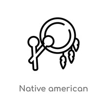 Outline Native American Drum V...