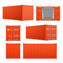 Realistic Set Of Bright Red Cargo Containers.   Front, Side Back And Perspective View.  Open And Closed