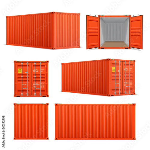 Realistic set of bright red cargo containers Wallpaper Mural