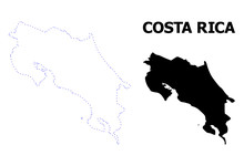Vector Contour Dotted Map Of Costa Rica With Name