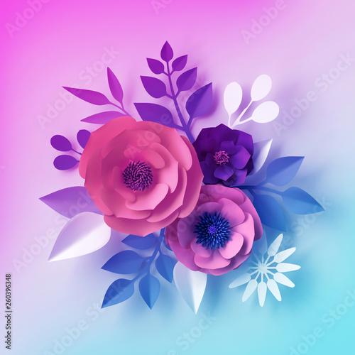 3d Render Decorative Neon Paper Flowers Isolated Bouquet Floral
