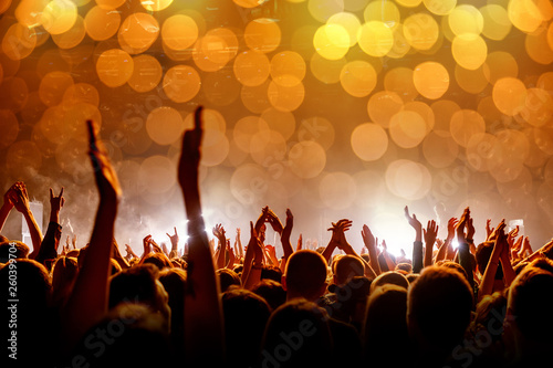 Crowd with raised hands at a concert, light show - 260399704