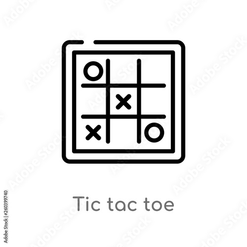 outline tic tac toe vector icon. isolated black simple line element illustration from entertainment concept. editable vector stroke tic tac toe icon on white background Wall mural