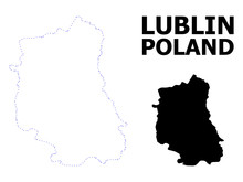 Vector Contour Dotted Map Of Lublin Province With Name