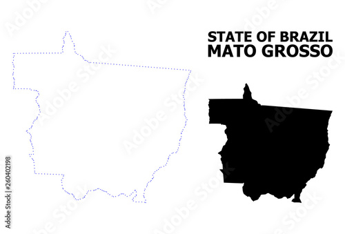 Photo  Vector Contour Dotted Map of Mato Grosso State with Name