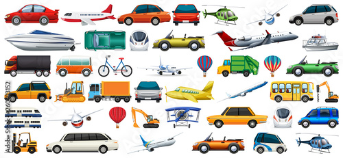 Foto op Aluminium Cartoon cars Set of transport vechicles