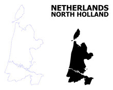 Vector Contour Dotted Map Of North Holland With Name