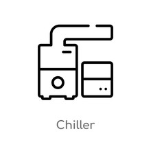 Outline Chiller Vector Icon. Isolated Black Simple Line Element Illustration From Furniture And Household Concept. Editable Vector Stroke Chiller Icon On White Background