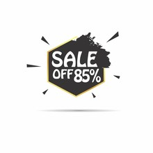Sale Off 85% Sign With Hexagon Back Label Vector Design Element